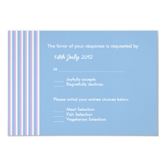 Blue Lilac White Stripes blue Wedding RSVP Card