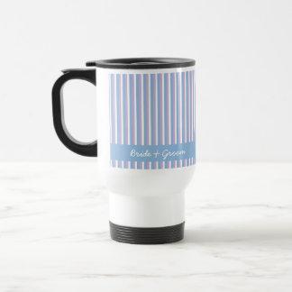 Blue Lilac White Stripes blue Wedding Travel Mug
