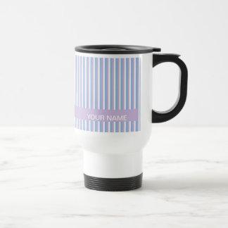 Blue Lilac White Stripes lilac Travel Mug