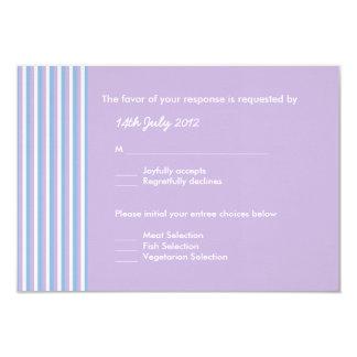 Blue Lilac White Stripes lilac Wedding RSVP Card