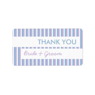 Blue Lilac White Stripes white Thank You Sticker label