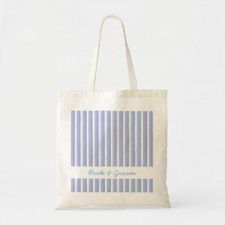 Blue Lilac White Stripes white Wedding Bag