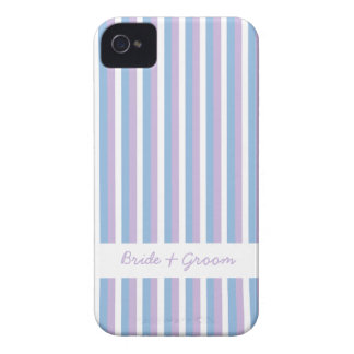 Blue Lilac White Stripes white Wedding iPhone 4 iPhone 4 Cover