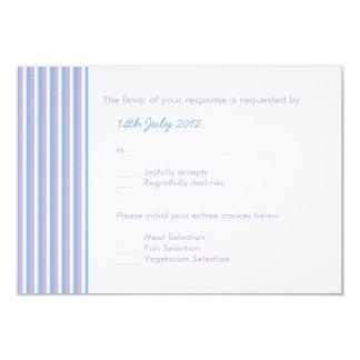 Blue Lilac White Stripes white Wedding RSVP Card