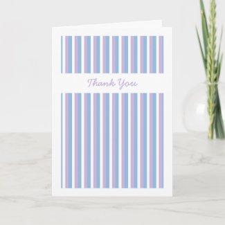 Blue Lilac White Stripes white Wedding Thank You card
