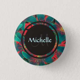 Blue Lilies Button With Monogram & Name