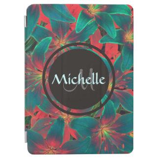 Blue Lilies Monogram & Name iPad Air Cover