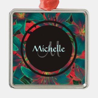 Blue Lilies Monogram & Name Ornament