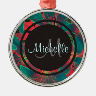Blue Lilies Monogram & Name Round Metal Christmas Ornament