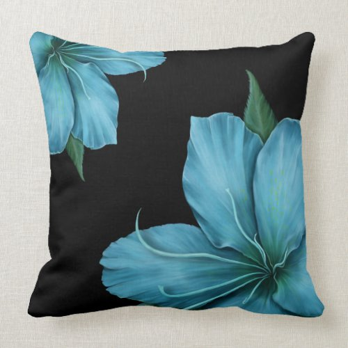 Blue Lilies on Black Throw Pillow