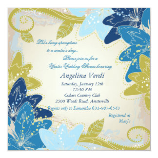 Blue Lilies Square Invitation