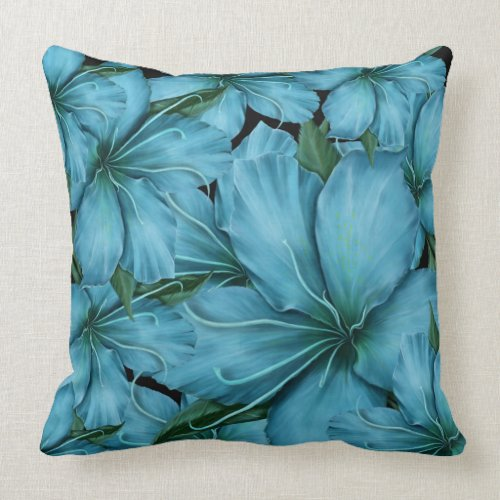 Blue Lilies Throw Pillow