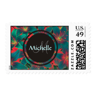 Blue Lilies With Monogram & Name Postage