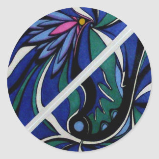 Blue Lilts Abstract Classic Round Sticker