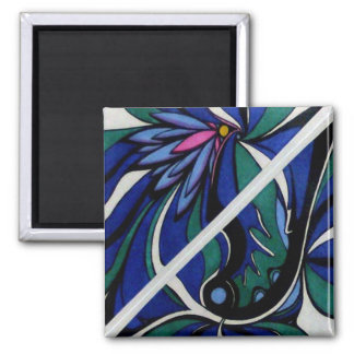 Blue Lilts Abstract Magnet