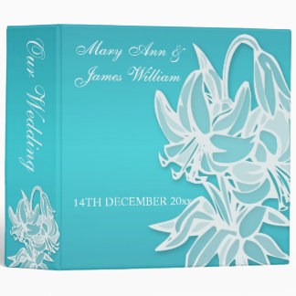 Blue Lily Bouquet Elegant  Wedding Binder