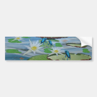 Blue_Lily_Pad_Frogs,_ Bumper Sticker