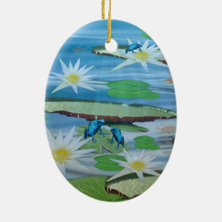 Blue_Lily_Pad_Frogs,_ Ceramic Ornament