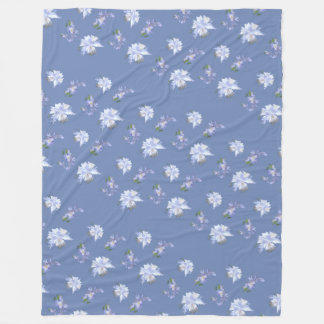 Blue Lily Pattern Fleece Blanket