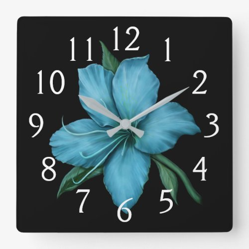Blue Lily Square Wall Clock