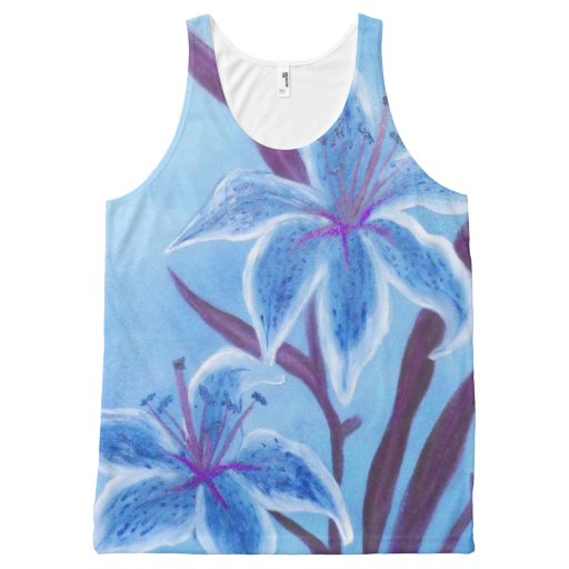 Blue Lily Tank Top All-Over Print Tank Top