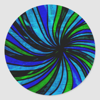 Blue Lime Abstract - All roads lead here Classic Round Sticker