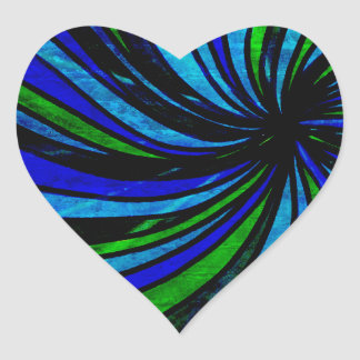 Blue Lime Abstract - All roads lead here Heart Sticker
