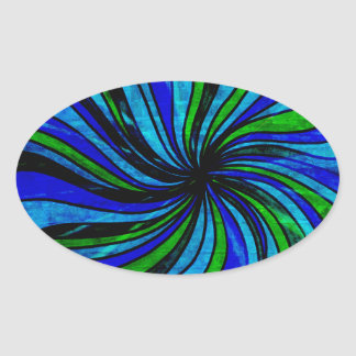 Blue Lime Abstract - All roads lead here Oval Sticker