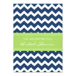 Blue Lime Chevron Bridal Shower Invitation Cards