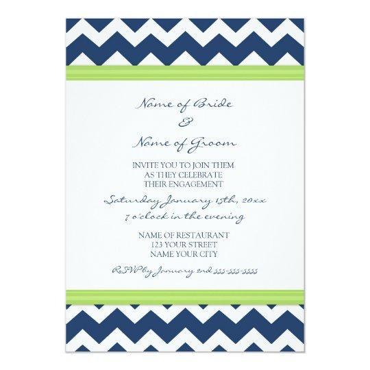 Blue Lime Chevron Engagement Party Invitations