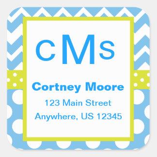 Blue & Lime Chevron Polka Dot Monogram Stickers