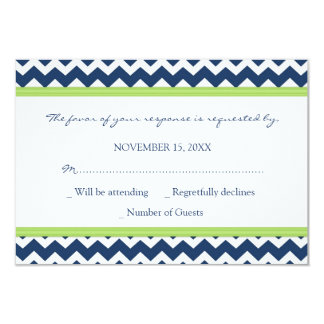 Blue Lime Chevron RSVP Wedding Card Invitation