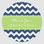 Blue Lime Chevron Thank You Wedding Favor Tags Classic Round Sticker