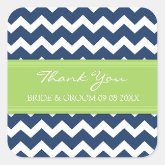 Blue Lime Chevron Thank You Wedding Favor Tags Square Sticker