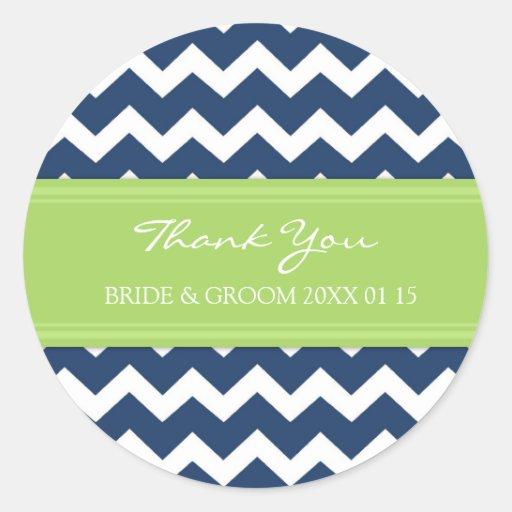 Blue Lime Chevron Thank You Wedding Favor Tags Sticker