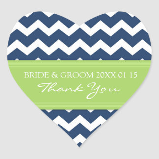 Blue Lime Chevron Thank You Wedding Favor Tags Heart Sticker