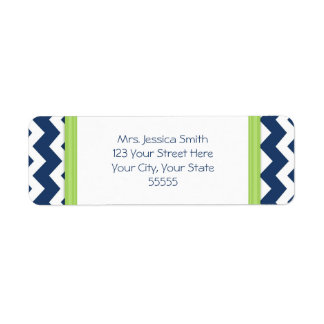 Blue Lime Chevrons Custom Return Address Labels