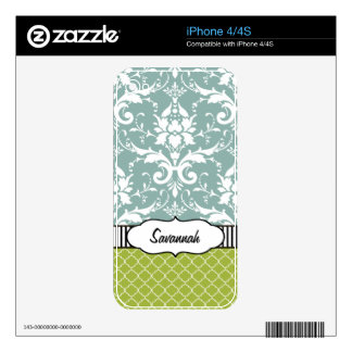Blue & Lime Damask Personalized MacBook Air Skin
