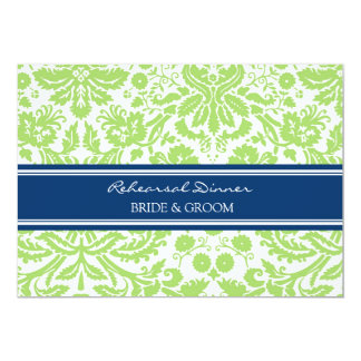 Blue Lime Damask Rehearsal Dinner Party 5x7 Paper Invitation Card