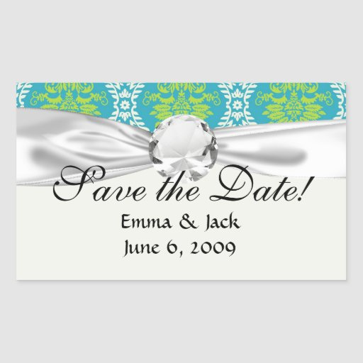 blue lime green and cream ornate damask rectangular sticker