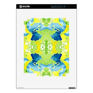 Blue Lime Green Modern Artistic Abstract Decals For iPad 2