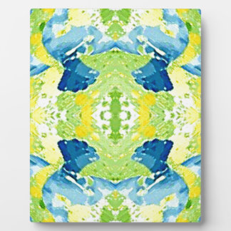 Blue Lime Green Modern Artistic Abstract Plaque