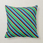 [ Thumbnail: Blue, Lime Green, Pale Goldenrod, Maroon & Black Throw Pillow ]