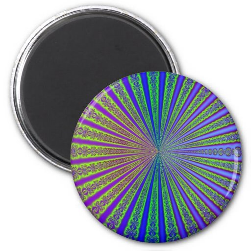 Blue Lime Green Purple Abstract Fractal Tunnel Magnets