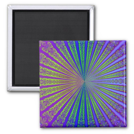 Blue Lime Green Purple Abstract Fractal Tunnel Magnet