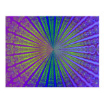 Blue Lime Green Purple Abstract Fractal Tunnel Postcard
