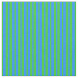 [ Thumbnail: Blue & Lime Green Stripes/Lines Pattern Fabric ]