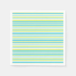 Blue lime green stripes Paper napkins