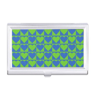 Professional Business Blue / Lime Heart Pattern business card holder