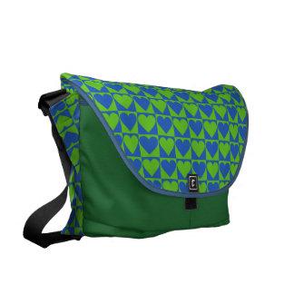 Blue / Lime Heart Pattern custom messenger bag